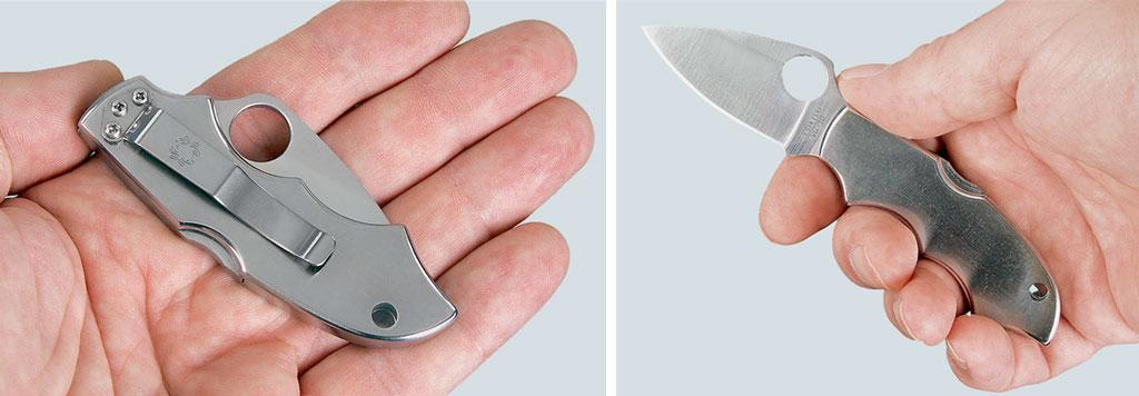 Выдвижение указательного пальца насоответствующим образом профилированный клинок— это приём, довольно часто встречающийся вножах Spyderco, нетолько, впрочем, малых. Наснимке Navigator 2с 2,25-дюймовым (57-мм) клинком. Первая модель этого ножа появилась нарынке много лет назад, ещё задолго перед истерикой, вызванной тараном небоскребов World Trade Center угнанными самолетами. Ноуже тогда американские правила воздушных сообщений запрещали внесение впассажирский салон самолета ножей склинками длиннее двух счетвертью дюймов. Вот именно под такие ограничения ибыл спроектирован этот нож. Снимок иллюстрирует, что рукоять «малыша» тем неменее обеспечивает вполне приемлемый поудобству инадёжности хват вмужской ладони средних размеров
