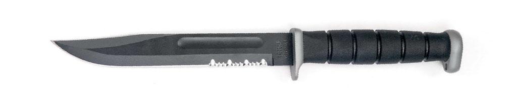 Один изсимволов Америки— клинок типа Bowie, воплощенный всовременной ипостаси чутьли некультового ножа USMCFighting/Utility Knife. Такие ножи, только попроще дапотопорней изготовленные, состояли навооружении американских морских пехотинцев вдвух мировых войнах. Что они ими делали— можно только гадать, потому что изрядных размеров ивесьма увесистый нож, по-моему, исключительно малоэффективное оружие иещё менее эффективный режущий инструмент. Наснимке D2Extreme американской фирмы KA-BAR