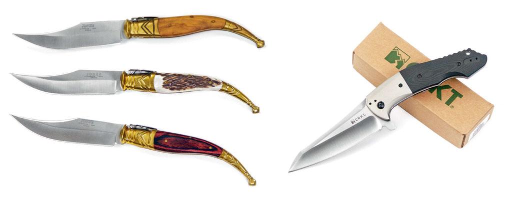 Слева: ножи испанской фирмы Joker представляют собой верные реплики традиционных средневековых испанских навах (исп. navaja— складной нож). Похоже, что испанцы, сами того неподозревая, изготавливали клинки типа Bowie задолго дорождения Джима Буи Справа: иногда полёт фантазии проектировщика приводит вродебы «варнклиффоватые» клинки вобласть ножей, предназначенных (опятьже— вродебы) для серьёзного использования, доказывая тем самым, что перевес формы над содержанием становится все более обыденным явлением внашей жизни. Наснимке Eraser американской фирмы CRKT, который продержался вмодельном ряду фирмы недольше, чем год-два или что-то около того. Как правило такие ножи недолго задерживаются впроизводстве именно попричине ихпрактической бессмысленности— купят пару тысяч любителей экзотики вовсём мире иконец продаж, аследовательно, ипроизводства