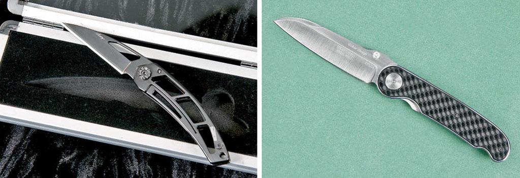Клинки типа wharncliffe характеризуются прямым (АиВ— Alary американской фирмы Timberline) или почти прямым (С— Walker's Gentleman Folder висполнении швейцарского мастера Ханса-Петера Клёцли) лезвием иболее или менее круто опущенной кострию линией обуха. Таким ножом удобно строгать карандаши, открывать корреспонденцию, приятно покрасоваться перед прекрасным полом, ещё приятнее— поручить такой вподарок. Новразведку, как говорили всоветское время, ябы стаким ножом непошёл, даиназагородный пикник сшашлыками тоже