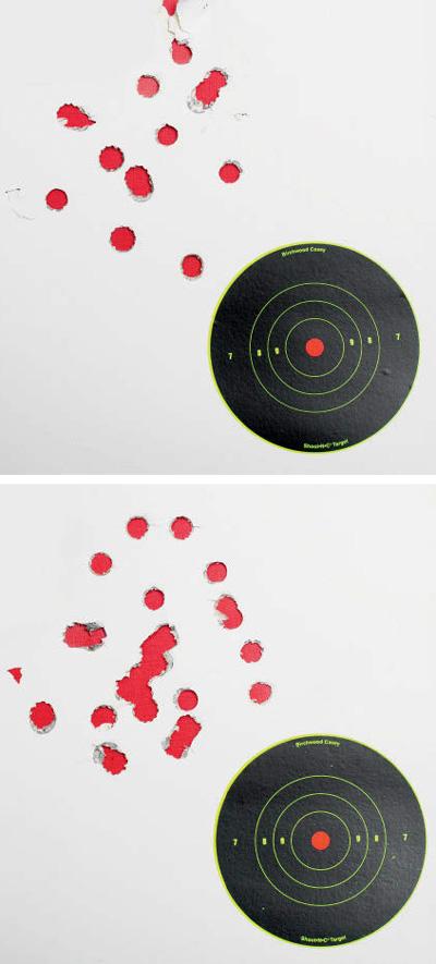 Наверхней мишени попадания от15выстрелов тремя различными типами пуль (попять каждой). Нанижней мишени 20попаданий— 4типа пуль (попять каждой)