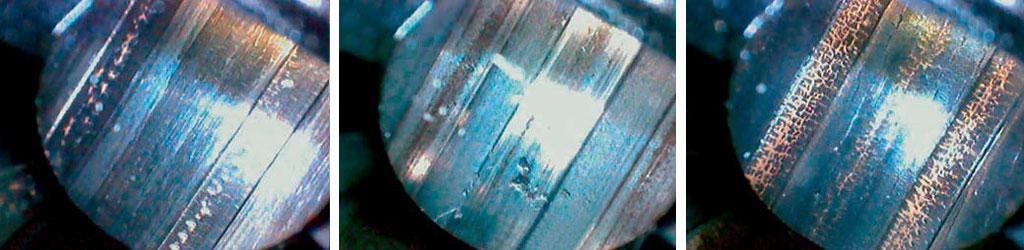 Ствол Rangemaster .338LM после 10 выстрелов заводскими патронами. Ствол очищен от нагара. Видны следы омеднения. Видна сетка разгара