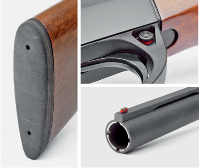 Затыльник— амортизатор приклада ружья выполнен без рифления рабочей поверхности, выглядит просто, ноаккуратно. Ивэтом есть своя изюминка— оннецепляется заодежду при вскидке иудобен вприкладке. Предохранитель смонтирован наосновании УСМ иввключённом положении блокирует только спусковой крючок, как ивдругих, более дорогих образцах самозарядных ружей. Прицельная планка выполнена сгладкой рабочей поверхностью, без рифления иэто, надо полагать, особая «фишка» заказчика. Хочется думать, что ивданном случае простота— непорок. Лишьбы она была прямая, как натянутая струна, крепко держалась иобеспечивала точный бой ружья. Всё покажет предстоящее тестирование этого ружья настрельбище.