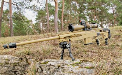 Помимо штатного оптического прицела Steiner M5Xi Military 5-25×56, G29 может снабжаться коллиматором вкачестве резервного прицела. Фото Haenel