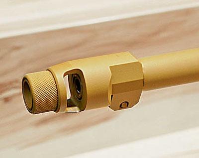 Дульный тормоз фирмы B&T позволяет монтировать на нём устройство для бесшумной и беспламенной стрельбы Rotex той же самой фирмы. Фото автора