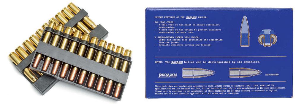 Полуоболочечная пуля патронов РМР серии ProAmm имеет двух компонентный сердечник изсвинцовых сплавов различной твёрдости для достижения наилучшей проникающей способности вместе свысоким останавливающим действием. Правильной деформации пули при попадании также способствует специальный профиль кольцевой проточки всредней части оболочки пули