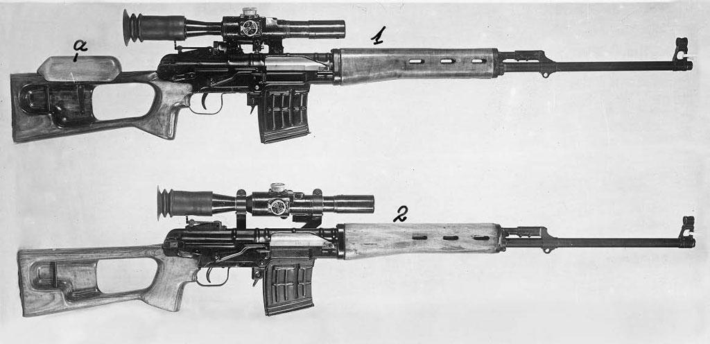 1— ССВ-58 изопытной серии для войсковых испытаний, испытанная наполигоне доихначала 2— Винтовка ССВ-58, испытывавшаяся вовремя третьих полигонных испытаний, проходивших вдекабре 1961— январе 1962г., когда был сделан окончательный выбор веёпользу