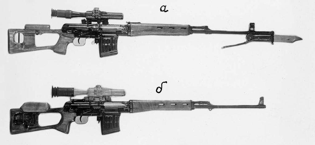 а— СВД, доработанная порезультатам войсковых испытаний б— ССВ-58, проходившая испытания ввойсках