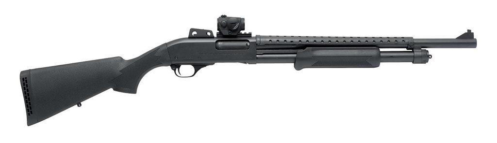 Помповое ружьё PD18SGP с установленным коллиматорным прицелом Aimpoint Micro H-1. Длина ствола 500 мм, вместимость магазина 5 патронов (+1)