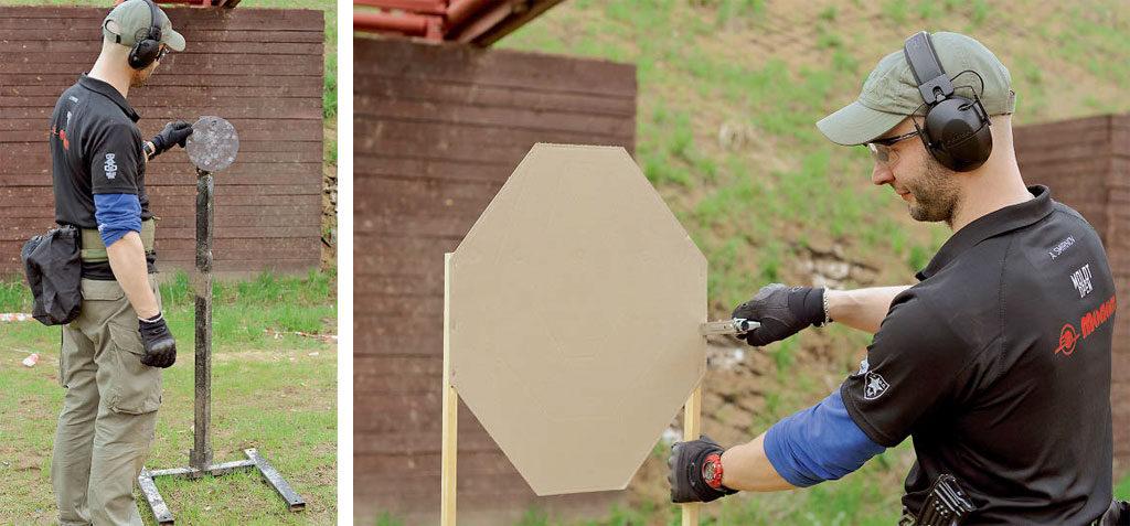 Слева:  гонги для тренировки с карабином Справа: картонные мишени