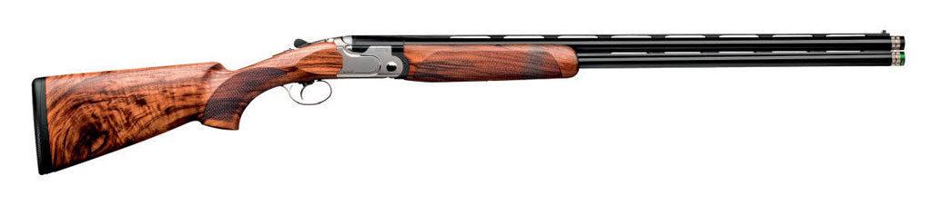 Общий вид ружья Beretta 692. Схема, применённая вэтом ружье, представляет собой ещё одну попытку оптимизировать распределение нагрузок, возникающих вовремя выстрела взатворной группе. Один изхарактерных элементов— «клыки», входящие ввырезы вбоковых стенках затворной коробки
