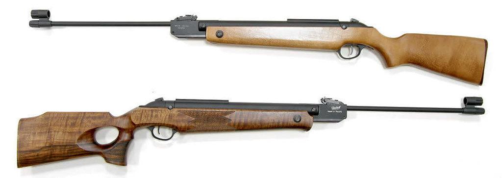 MP-515 «Барракуда» (урождённая MP-513M) в стандартном исполнении (вверху) и с изящной ложей типа Thumb hole