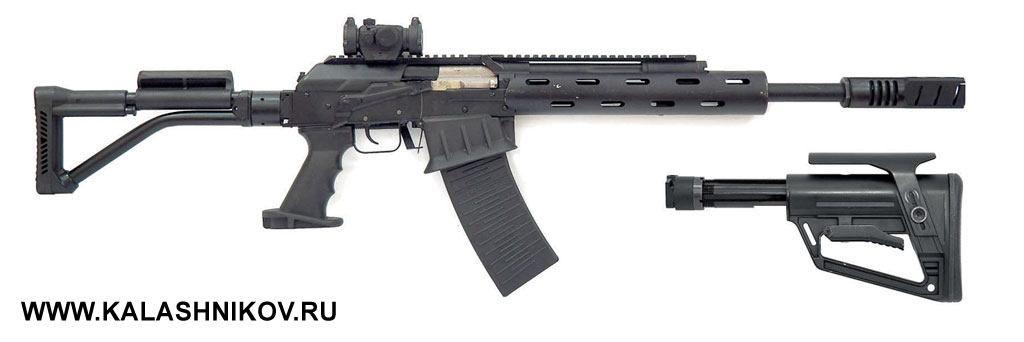 Усовершенствованный «Вепрь-12Спорт» сскладывающимся хвостовиком под AR-образный приклад выпущен опытной партией. Готовящаяся ксерийному выпуску модель будет отличаться отизображённой нафото другим цевьем иещё несколькими деталями