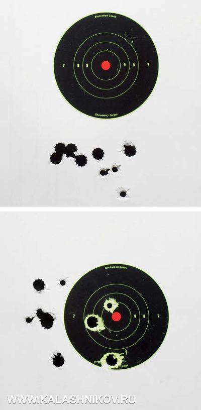 Расположение попаданий при стрельбе пулями, верхний снимок— изружья Vero, нижний— XLR. Дистанция стрельбы 50м, положение— сидя супора, дульный насадок— получок. Стрельба патронами К30РС спулей Полева-3, 28г, «Техкрим» спулей «Бреннике» массой 28,4г иRio Royal Brenneke 32г. Отчётливо видны отклонения СТП пуль отТП, вниз— уVero ивлево— XLR