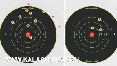 12 hits on the left target (one double) and one 3-shot group on the right target to check initial grouping