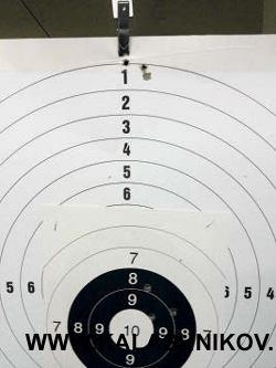Явное смещение: наблюдалось при стрельбе сглушителем, установленным насамозарядной винтовке. Точка попадания находилась значительно выше. Вместе стем поперечник рассеивания был лучше.