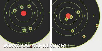 Результаты стрельбы из«Барса» лёгкими (верхние группы) итяжёлыми пулями (патроны Armscor). Масштаб1:2