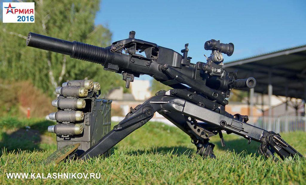 40-мм автоматический гранатомёт «Балкан» сгранатами сулетающей гильзой, которая при выстреле неразделяется сбоевой частью. Хорошо видны отверстия вдонной части гильзы, через которые пороховые газы устремляются вкамору при выстреле