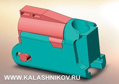 3D-модель узла запирания, принятая для расчёта продольной деформации затворной коробки гладкоствольного ружья без ограничения шарнирной подвеской перемещения поосиХ