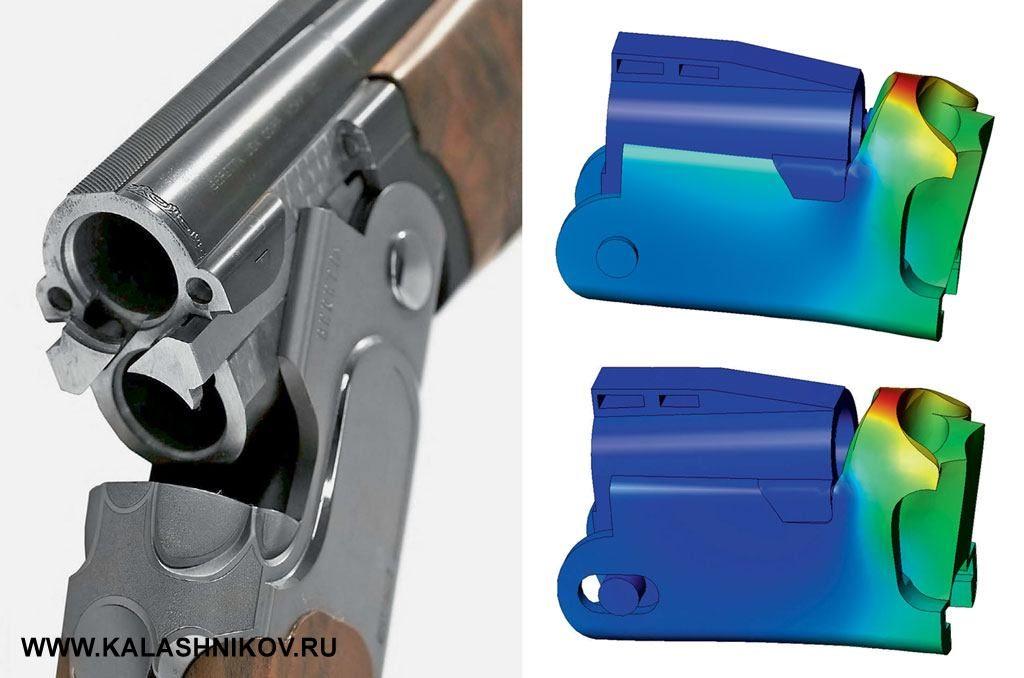 Затворная коробка ружья Beretta 692. Рядом приведены результаты моделирования деформаций, возникающих при выстреле, сдопущением обосутствии ходового зазора между «клыками» ивырезами заворной коробки (вверху) ипри наличии такого зазора