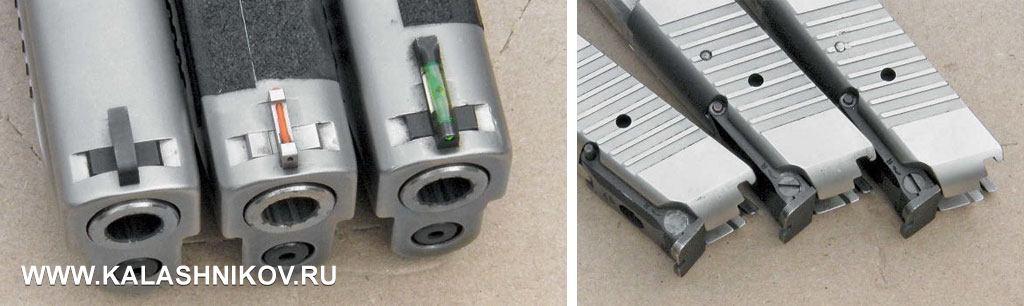 Различные варианты прицельных приспособлений Р226, использующиеся стрелками-практиками. На фото справа хорошо видны следы ремонта регулируемого целика пистолета