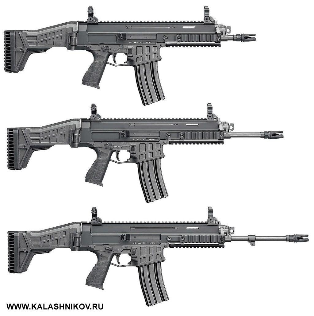 Внешний вид автоматов CZ BREN 2 с различной длиной ствола – 207 мм, 280 мм и 357 мм