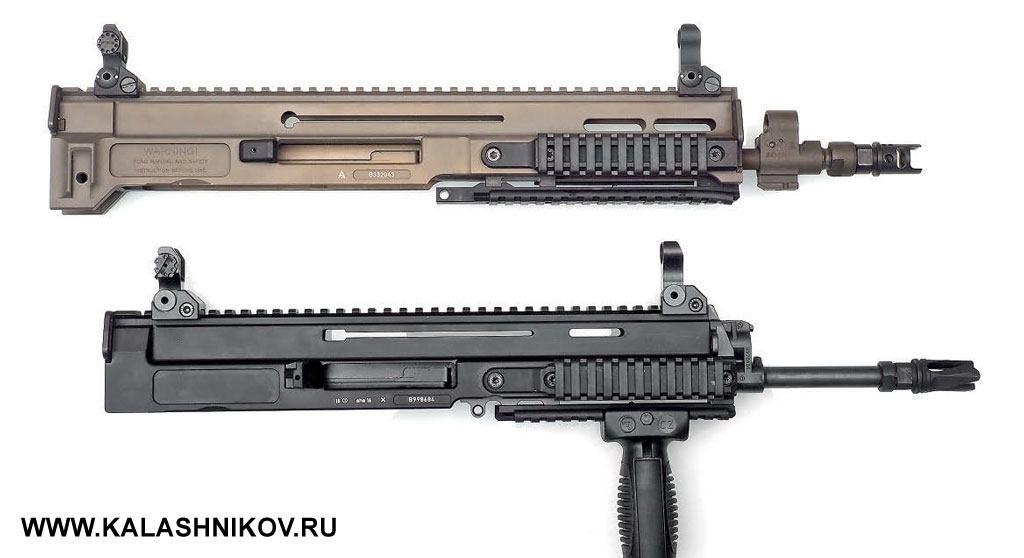 Общий вид ствольных коробок со стволами первого (вверху) и второго поколения автомата CZ BREN