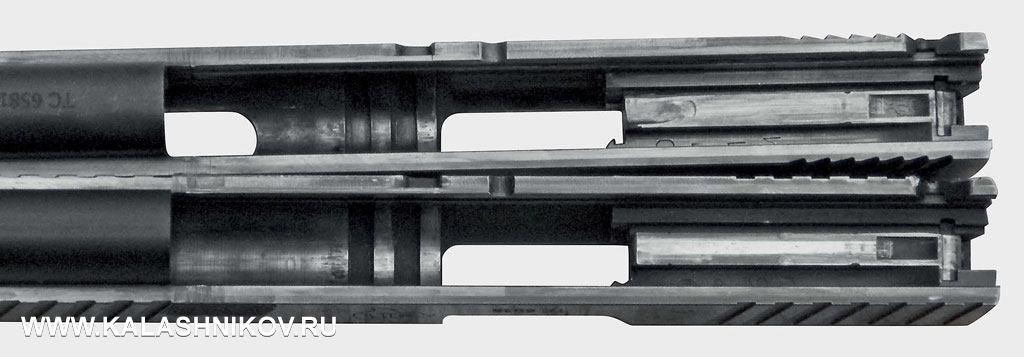 У верхнего затвора изменена форма подавателя, нижний не подвергался доработке