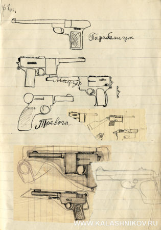 Наброски пистолетов Парабеллум и Маузер К-96