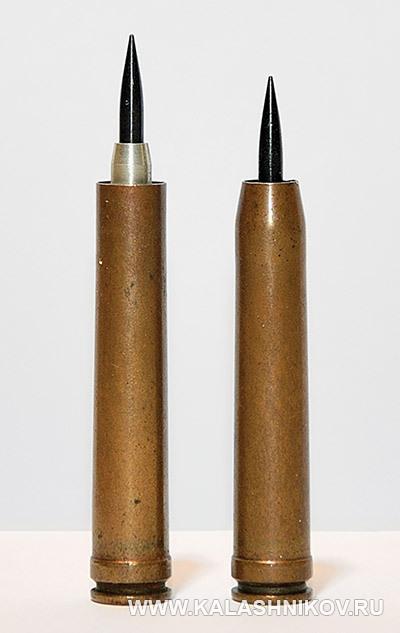 Макеты опытных 7,62/3-мм патронов 1963–64 годов. Иллюстрация к статье в журнале «КАЛАШНИКОВ»