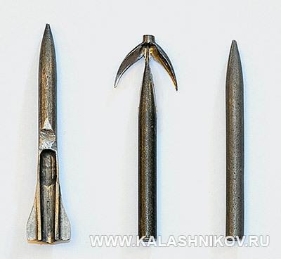 Образцы «полуфабрикатов» стреловидных пуль, полученные разными способами. Иллюстрация к статье в журнале «КАЛАШНИКОВ»