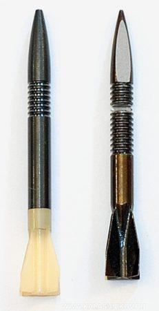 Металлическая стреловидная пуля (справа) и пуля с пластмассовым оперением. Иллюстрация к статье в журнале «КАЛАШНИКОВ»