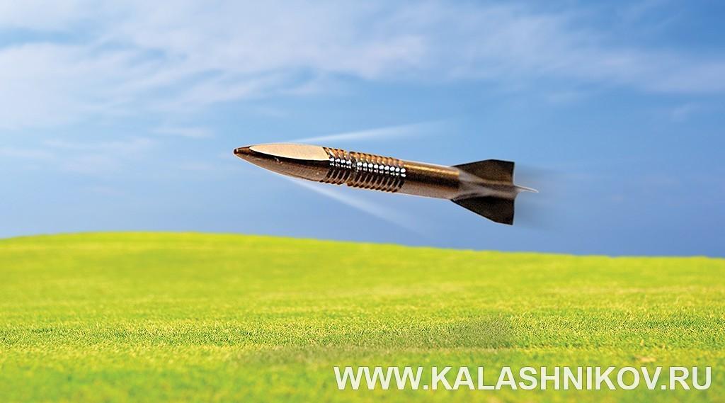 Стреловидная пуля в полете. Иллюстрация к статье в журнале «КАЛАШНИКОВ»