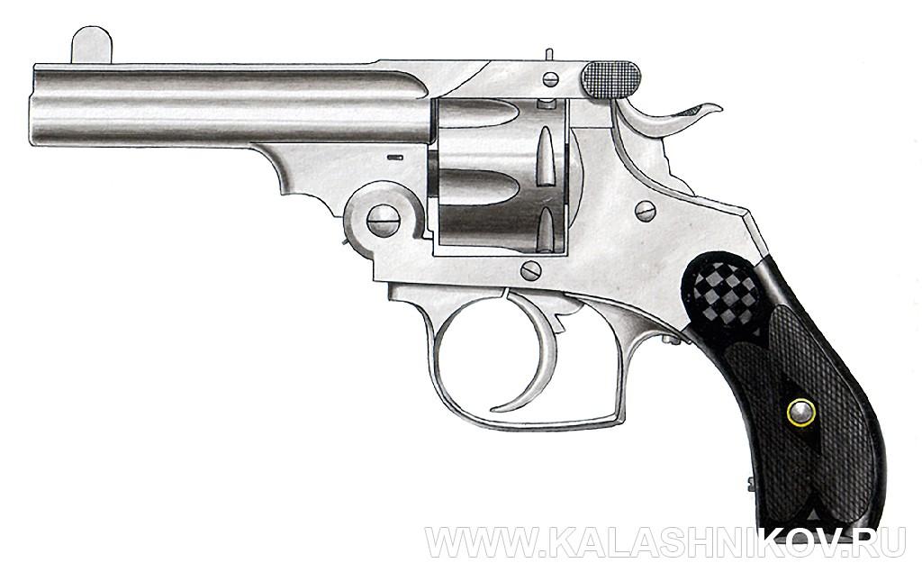 Револьвер Смит-Вессона. Бельгия. Рисунок А. Жука. Иллюстрация к статье в журнале «КАЛАШНИКОВ»