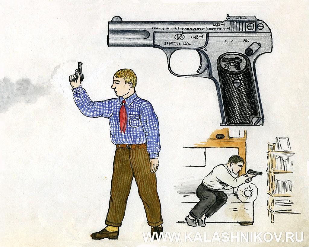 Браунинг модели 1900 г. на рисунке А. Жука.  Иллюстрация к статье в журнале «КАЛАШНИКОВ»