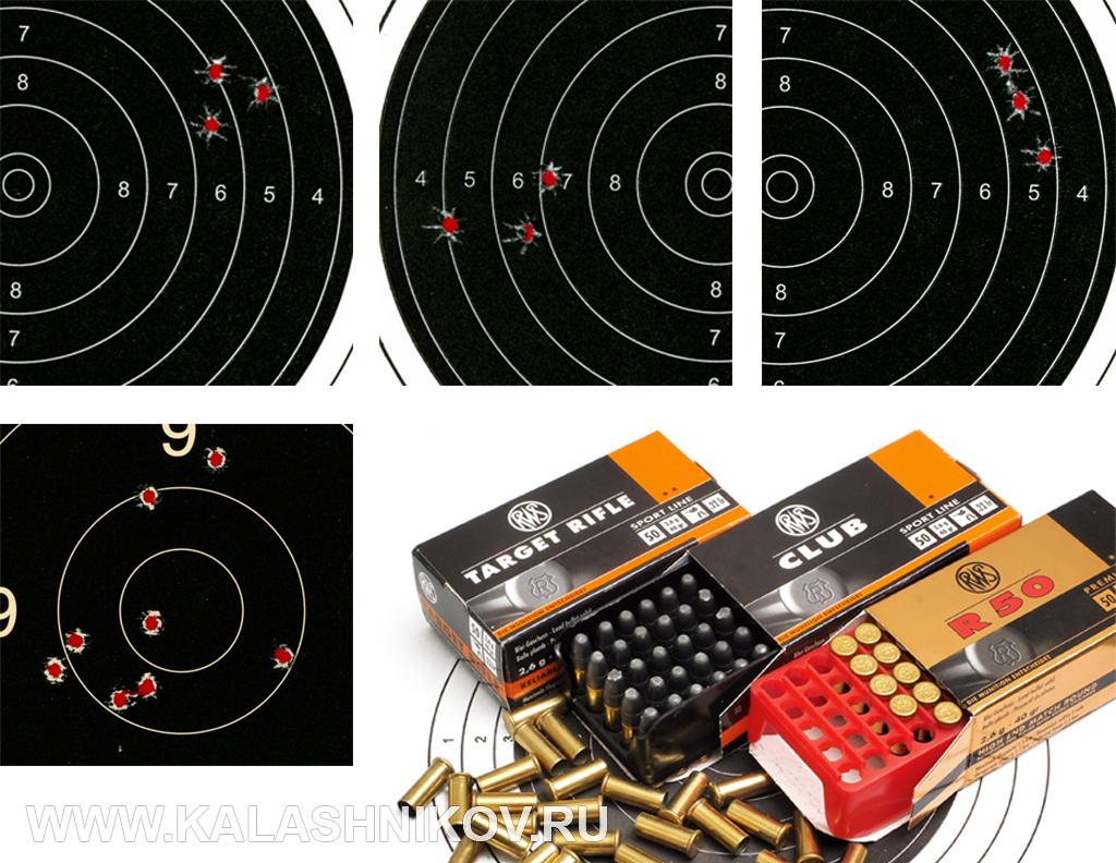 Мишени с результатами стрельбы из малокалиберного карабина Zastava MP22 с патронами RWS. Иллюстрация к статье в журнале «КАЛАШНИКОВ»