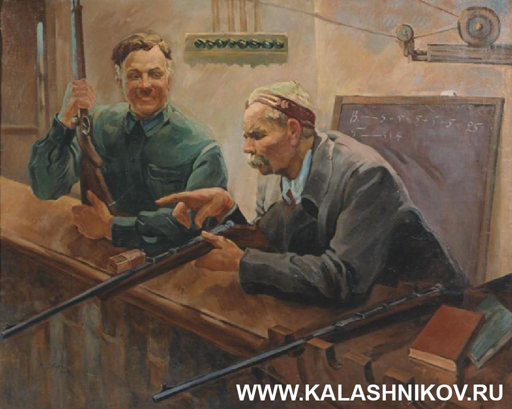 Картина художника В. С. Сварога «Товарищи К. Е. Ворошилов и А. М. Горький в тире. Фото из журнала «Калашников»