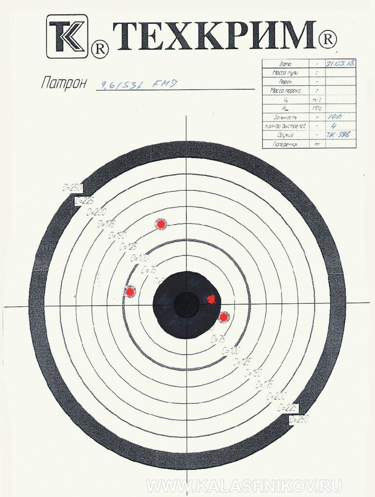 Мишнь отстрела патронов с пулей FMJ 15 из карабина ТК598 калибра 9,6/53 Lancaster. Фото из журнала «Калашников»