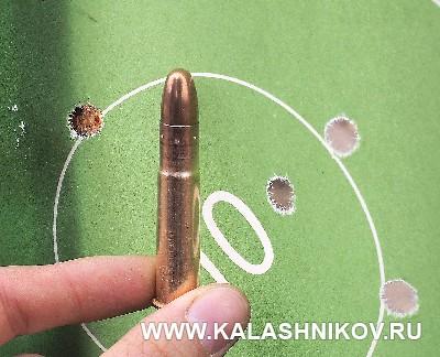 Мишень с рузельтатами стрельбы из ружья ВПО-220. Журнал «Калашников»