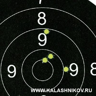 Мишень с результатами стрельбы сидя с руки на дистанцию 100м из карабина Pietta Chronos. Журнал «Калашников»