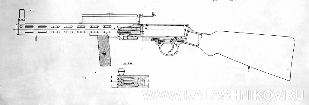 Чертёж пистолета-пулемёта Дегтярёва (1929 г.). Журнал «Калашников»