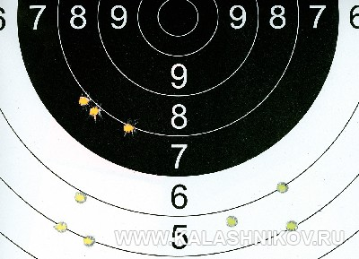 Мишень с результатами стрельбы из карабина Zastаva M70 FS (.308 Win.). Фото из журнала «Калашников»