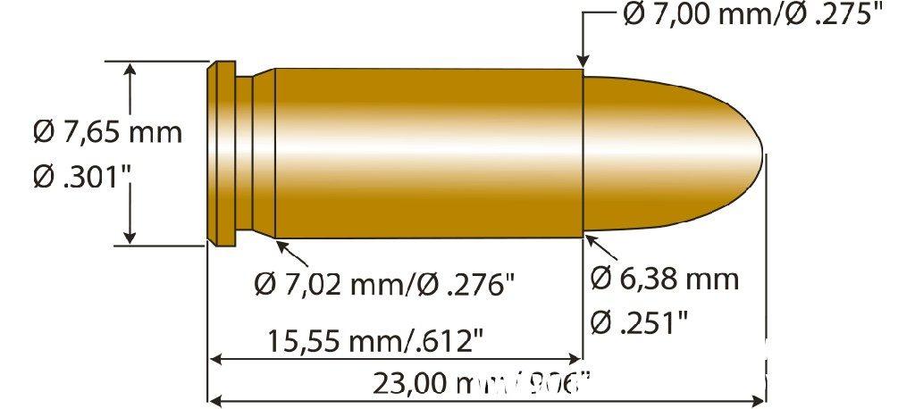 Патрон 6,35 mm Browning схема