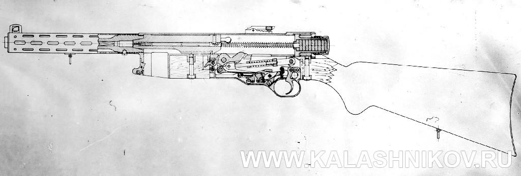 Пистолет-пулемёт Коровина 2-й образец, разрез. Журнал Калашников