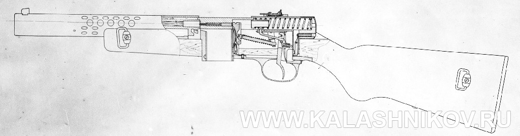 Пистолет-пулемёт Токарева №1, разрез. Журнал Калашников