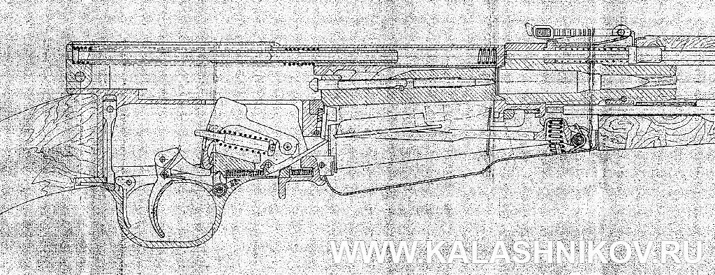 Фрагмент чертежа карабина СКС (СКС-31). Журнал Калашников