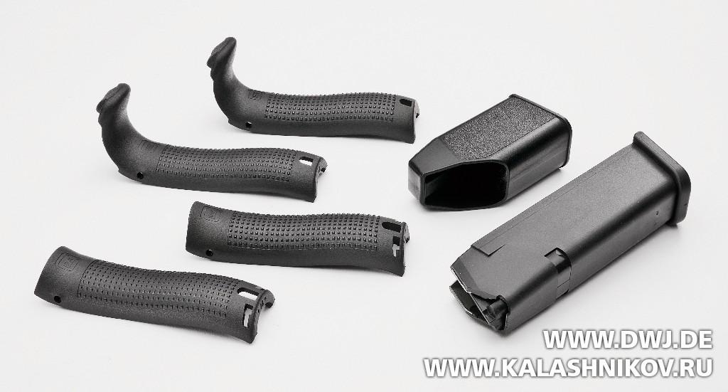 Задние части рукоятки пистолета Glock 17 Gen4 MOS, журнал Калашников, DWJ