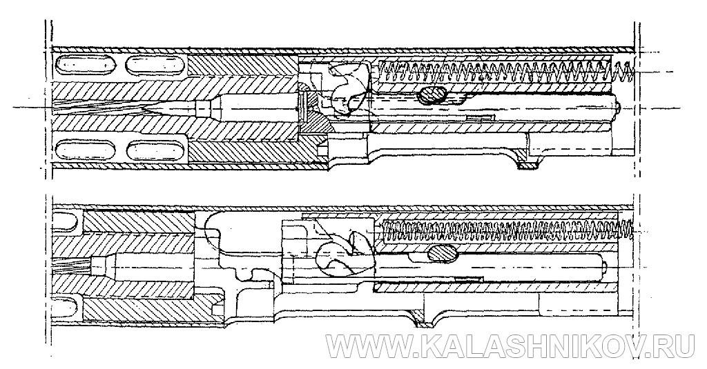Схема узла запирания автомата Манасяна. Журнал Калашников