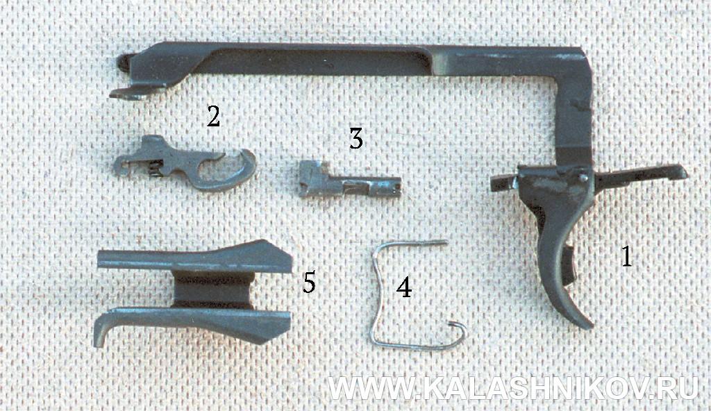 Детали спускового механизма пистолета ГШ-18.  Журнал Калашников