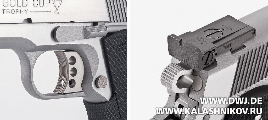 Colt 1911 скелетный спусковой крючок и микрометрический прицел. Журнал Калашников